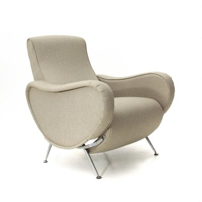 Midcentury hemp-colored fabric recliner armchair, 1970s