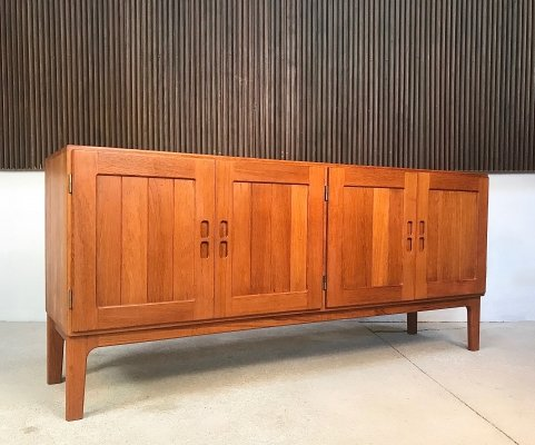 Vintage Danish Solid Teakwood Sideboard with Brass Hinges, 1960s