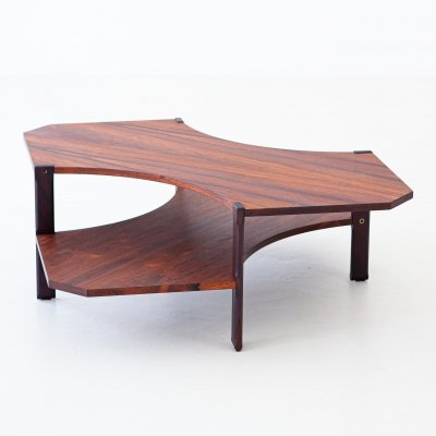 Italian Modern Rosewood Two Levels Coffee Table by Stildomus, 1950s