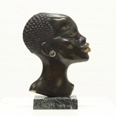 Mid Century 'African Woman' Sculpture in Bronze & Brass, 1950s