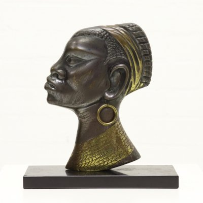 Mid Century Bronze Sculpture of African Woman, 1950s
