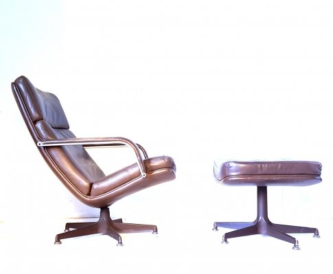 Brown leather 'F141' lounge chair with matching Ottoman by Geoffrey Harcourt for Artifort, Netherlands 1970s