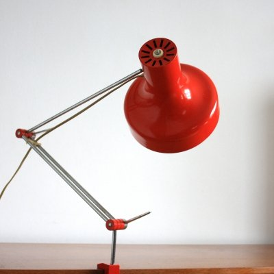 Red adjustable Napako table lamp by J. Hurka, Czechoslovakia