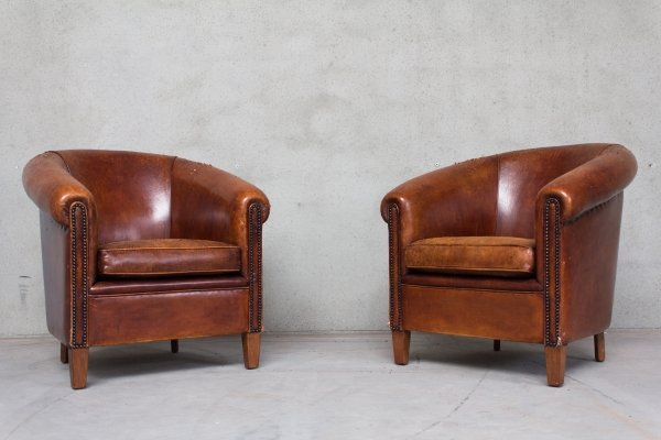 Set of 2 Sheep Leather Arm Chairs, 1980s