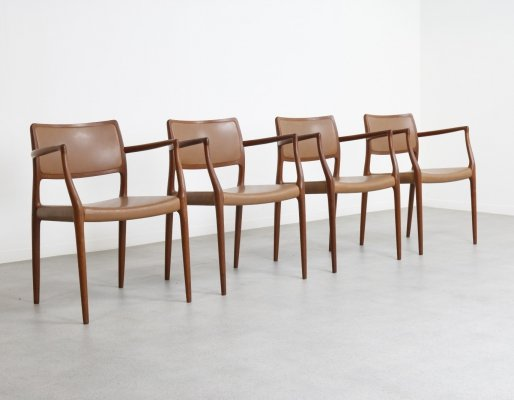 Set of 4 Model 65 dining chairs by Niels Otto Møller for JL Møllers Møbelfabrik, 1960s