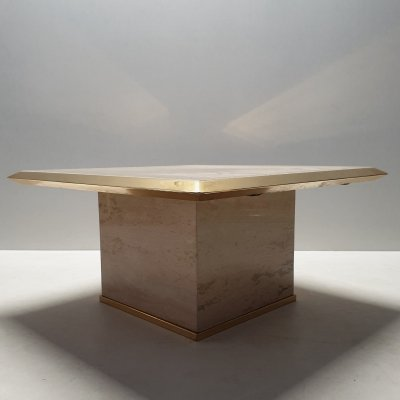 Square travertine & brass coffee or side table