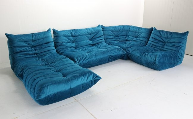Blue Velvet Togo Sofa by Michel Ducaroy for Ligne Roset, 1973
