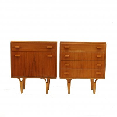 Pair of Wooden bedside cabinets with glass on the top, 1970s