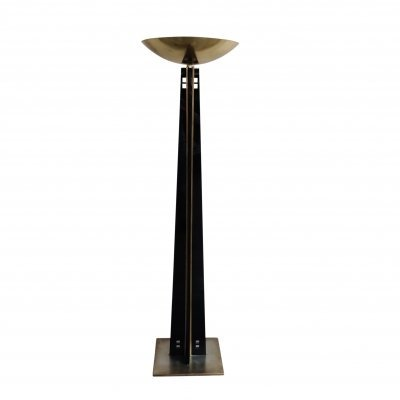 Large brass torchiere floor lamp by Belgo Chrom, 1980s