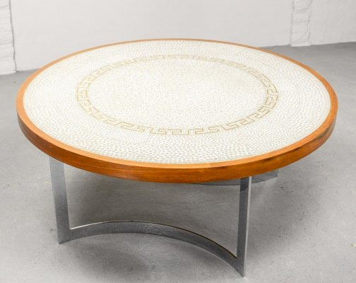 White & Gold Mosaic Coffee Table on Chrome Base by Berthold Müller, 1960s