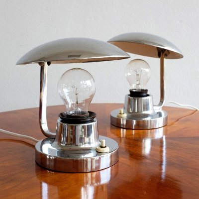 Pair of Napako 15 Typ 195 desk lamps by Josef Hůrka for Napako, 1930s