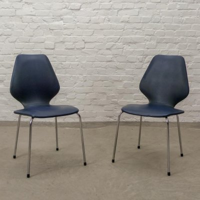 Vintage Design Blue Leatherette Kitchen Dining Chairs on Chrome Steel, 1960s