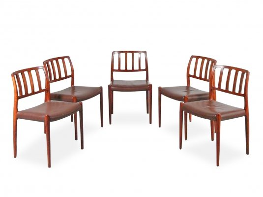 Set of 5 Model 83 Dining Chairs by Niels O. Møller, Denmark 1960s