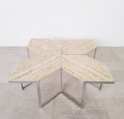 Vintage travertine & chrome coffee table, Italy 1970s