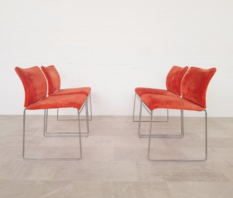 Set of 4 Vintage 'Jano' dining chairs with original red fabric by Kazuhide Takahama, 1980s