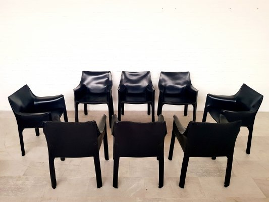 Set of 8 CAB 413 black leather chairs by Mario Bellini for Cassina, 1980s