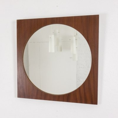 Round mirror with square frame in teak, 1960s