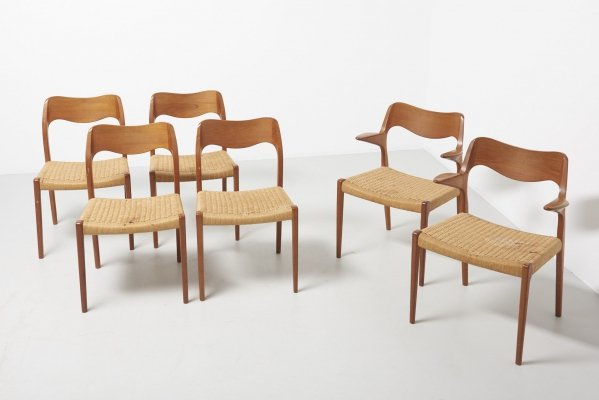 Set of 6 papercord dining chairs by Niels Otto Møller, 1950s