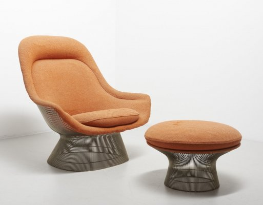 Model 1705 lounge chair with ottoman by Warren Platner