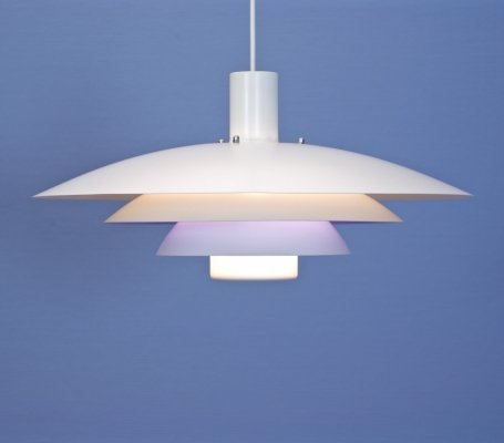 Danish hanging lamp in white with blue/purple accent by Form Light, 1970s