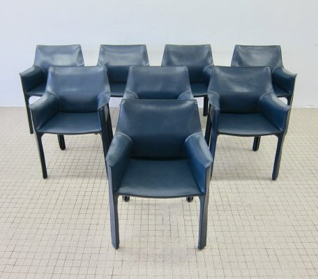 Set of 8 Vintage Cassina CAB413 dining chairs by Mario Bellini, 1977