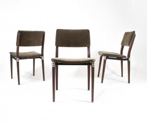 Grey velvet 'S82' dining chairs by Eugenio Gerli for Tecno, 1960s