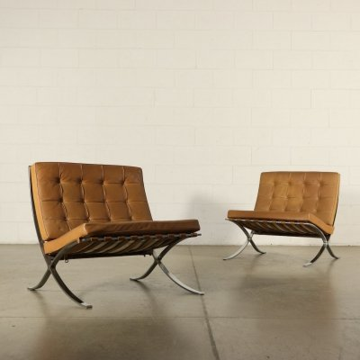 Pair of Barcelona Armchairs by Ludwig Mies Van der Rohe for Knoll