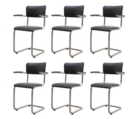 Six Tubax chairs with Bent chrome frames & bakelite armrests, Belgium 1970s