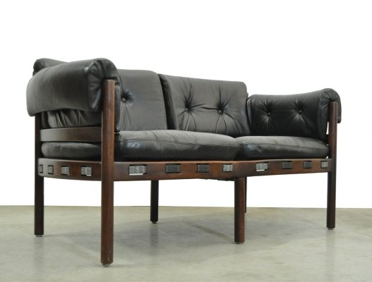 Vintage black leather 2 seater sofa, by Arne Norell for Coja, Sweden 1960s