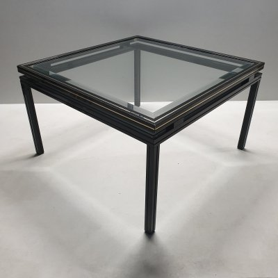 Black lacquer & brass side table by Pierre Vandel
