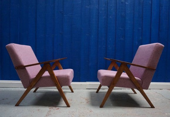Pair of Mid Century Modern Easy Chairs in Pink Tweed, 1960s