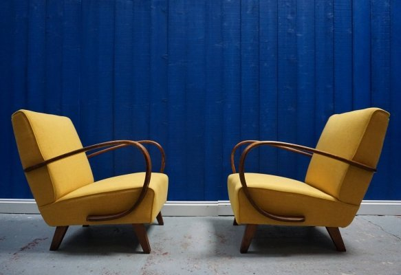 Pair of Jindrich Halabala for Thonet Bentwood Armchairs in Yellow, 1930
