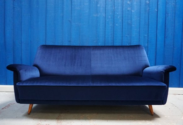Mid Century Danish Sofa in Luxury Navy Blue Velvet, 1950's
