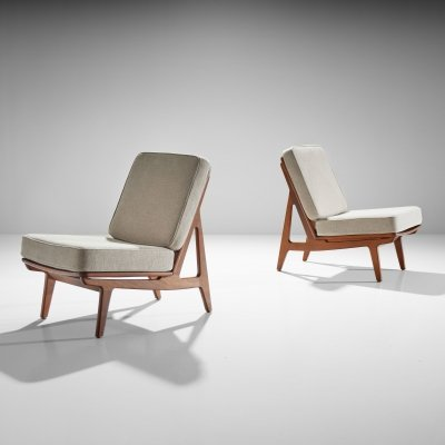 Pair of FD 172 Slipper Chairs by Peter Hvidt & Orla Molgaard, Denmark 1960s