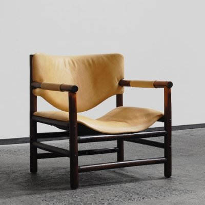 1960s Brazilian style easy chair with leather seating & back