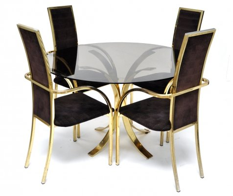 Belgo Chrom Brass Dining Set, 1970s