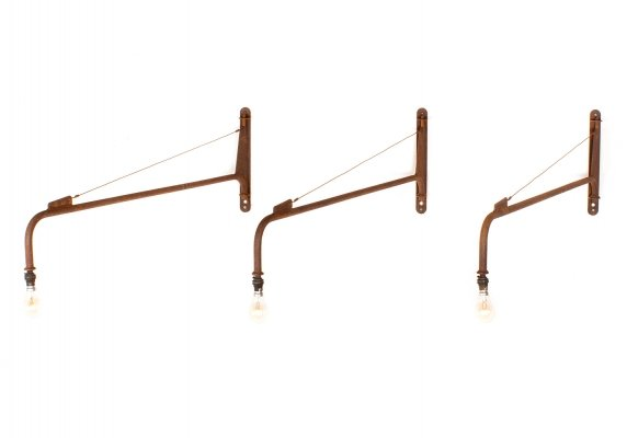 Set of 3 vintage Jib wall lights by Jean Prouvé, 1942