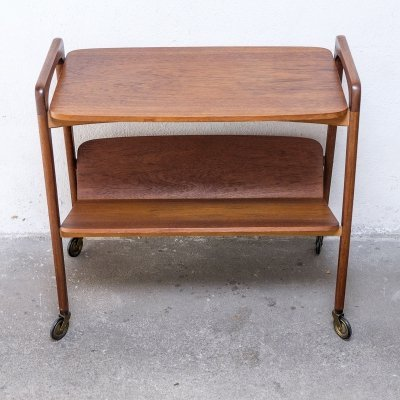 Teak Sidetable with Magazine Holder by Opal, 1950s