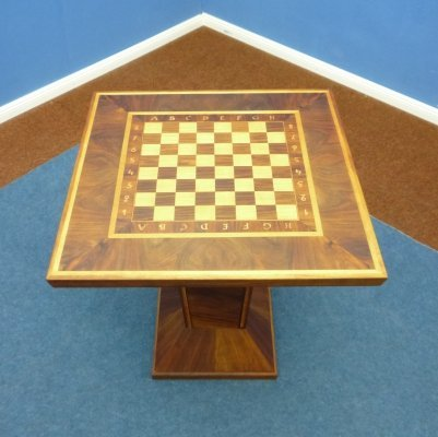 Art Deco Walnut & Maple Side Table / Chess Set, 1930s
