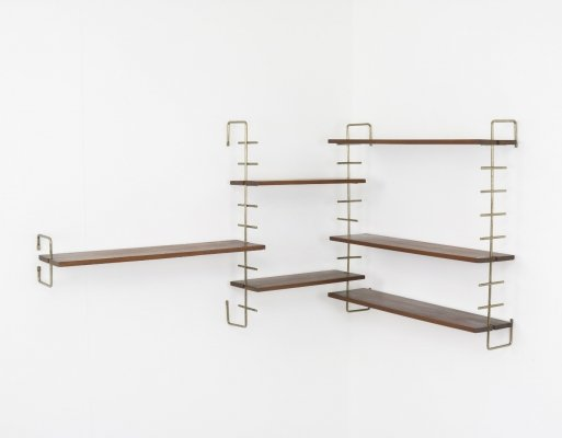 Modular wall unit in solid teak & brass, 1950s / 1960s