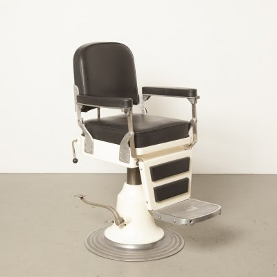 White Nike 'model 555' Barber's chair with black skai upholstery