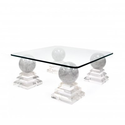 Vintage Acrylic And Marble 'Pyramid' Side or Coffee Table