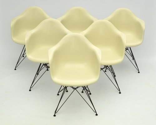 Fiberglass Arm Chair set by Charles Eames for Herman Miller with Vitra DAR Bases
