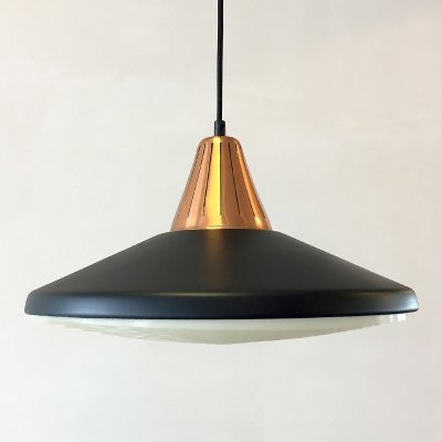 Danish pendant in copper & black metal, 1960s