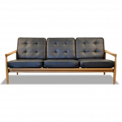 Vintage Swedish oak Erik Wørts 'Kolding' 3-seating sofa