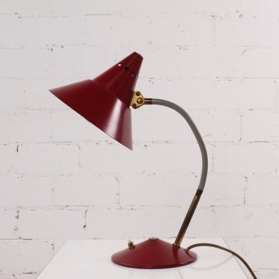 Vintage red Desk Lamp by Helo Leuchten, 1950s
