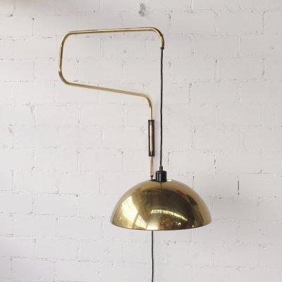 XL Adjustable Brass Wall Lamp, 1970s