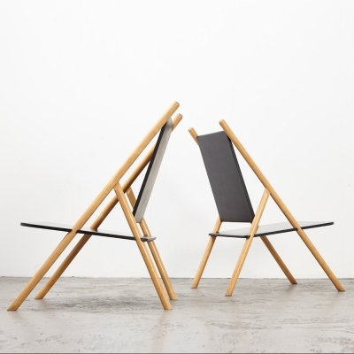 Very rare Pair of Lounge Chairs by Yrjo Wiherheimo & Rudi Merz for Korkeakosko