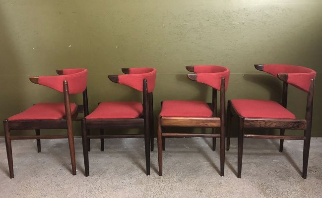 Set of 4 Danish cowhorn dining chairs, 60's