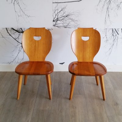Set of 2 Pine Chairs by Carl Malmsten for Svensk Fur, 1950s
